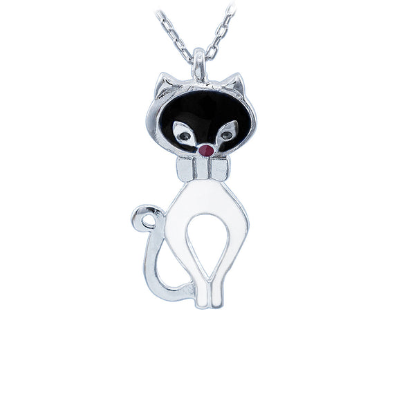 Black and White Purr Meow Silver Cat Necklace