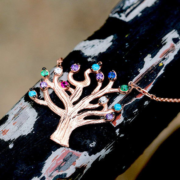 blossoming-into-spring-with-colourful-leaves-rose-gold-plated-silver-tree-necklace-2