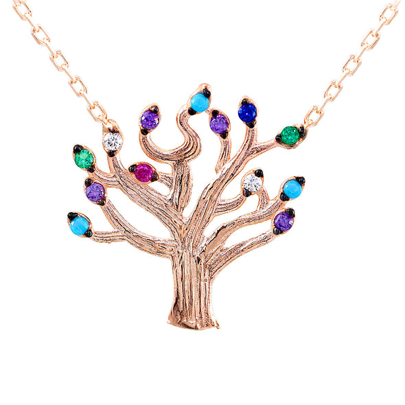 blossoming-into-spring-with-colourful-leaves-rose-gold-plated-silver-tree-necklace