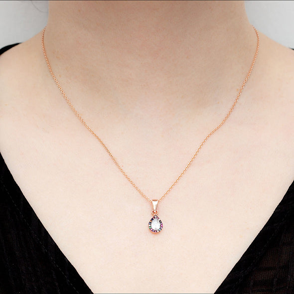 delicious-rainbow-pear-rose-gold-plated-silver-necklace-1