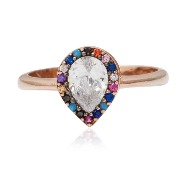 delicious-rainbow-pear-rose-gold-plated-silver-ring