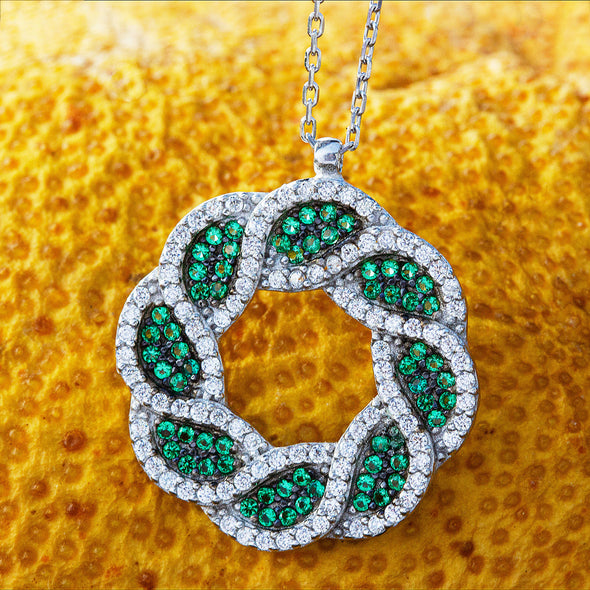 EverGreen Wreath Silver Necklace-2