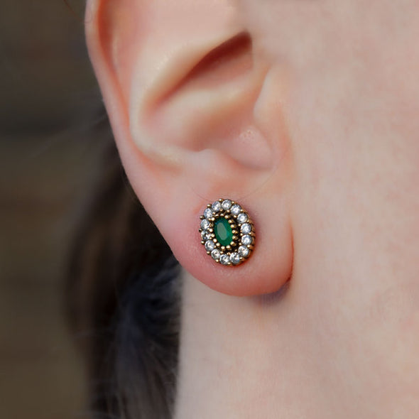 Harmonious Green Oval Cut Crystal Halo Silver Stud Earrings-Model