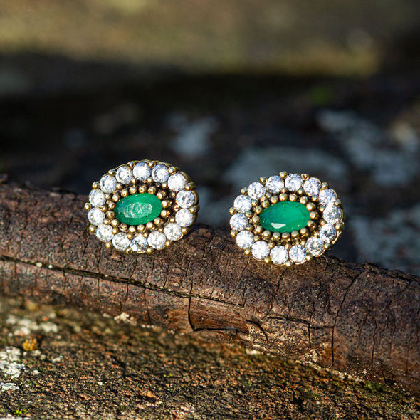Harmonious Green Oval Cut Crystal Halo Silver Stud Earrings-2