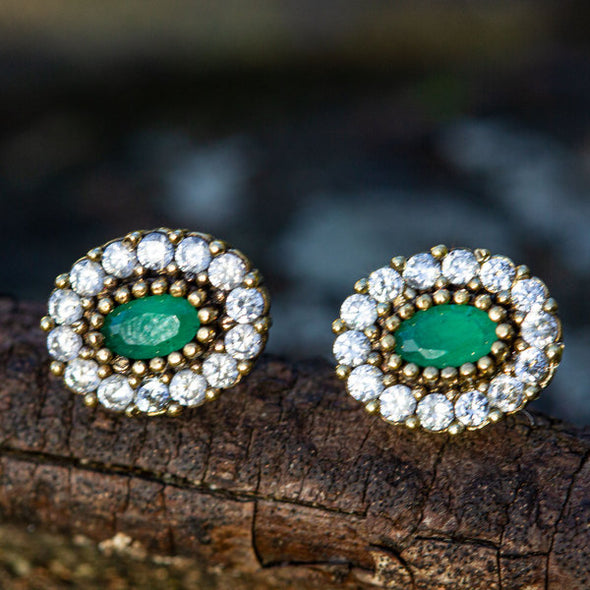 Harmonious Green Oval Cut Crystal Halo Silver Stud Earrings-3