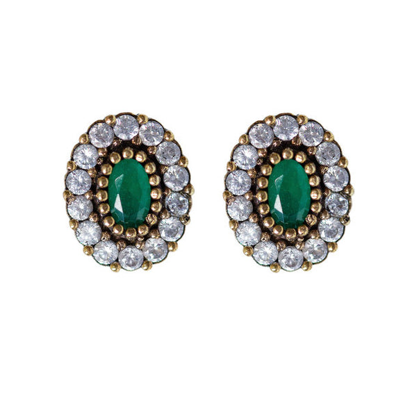 Harmonious Green Oval Cut Crystal Halo Silver Stud Earrings
