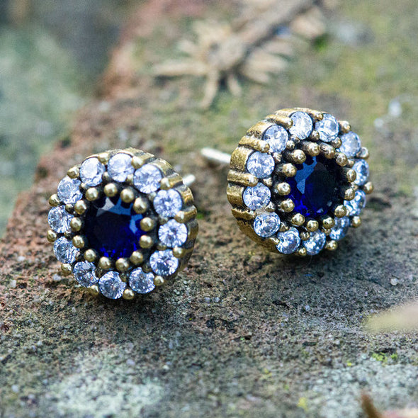 Heavenly Blue Morning Glory Crystal Halo Silver Stud Earrings-2