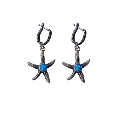 """Make a Difference"" Starfish Silver Dangly Earrings"
