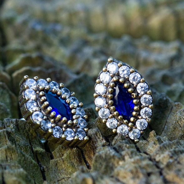 Marquise Lover Sapphire Blue Silver Stud Earrings-2