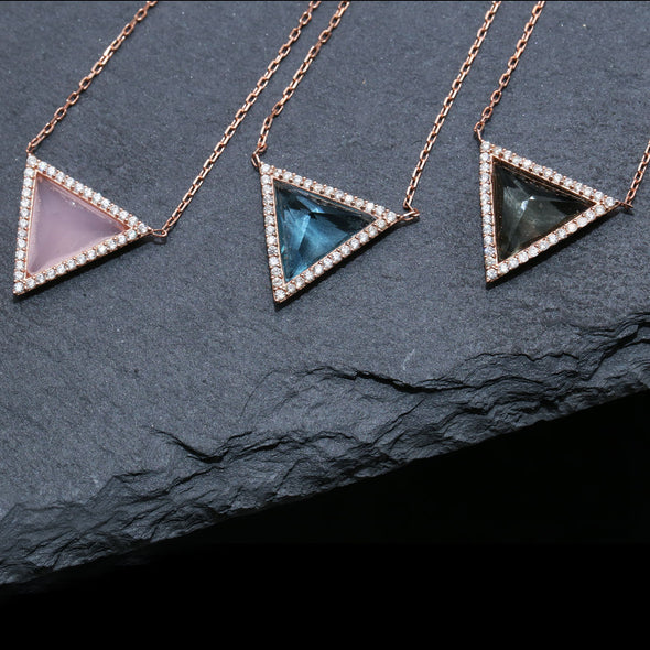 Maslow's Pyramid of Needs Rose Plated Sky Blue Silver Necklace