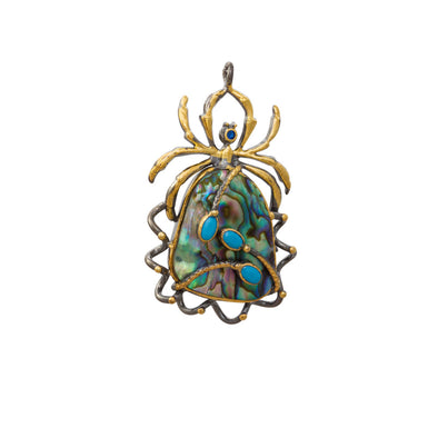 Rainbow Peacock Spider Statement Silver Pendant