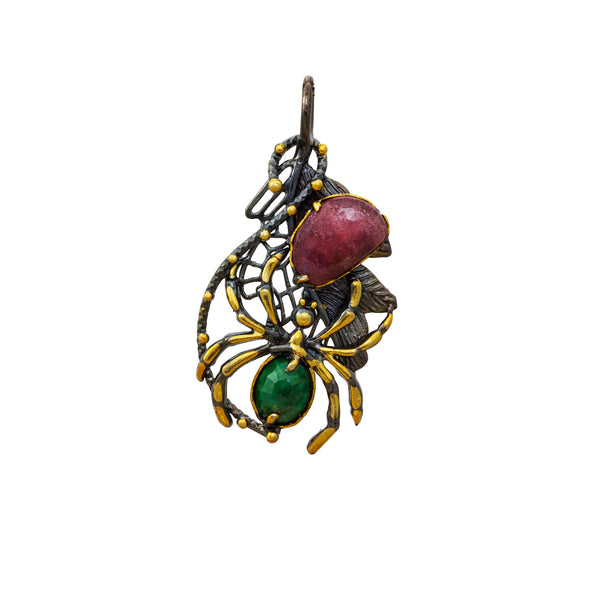Ruby Hunter Emerald Back Spider Statement Silver Pendant
