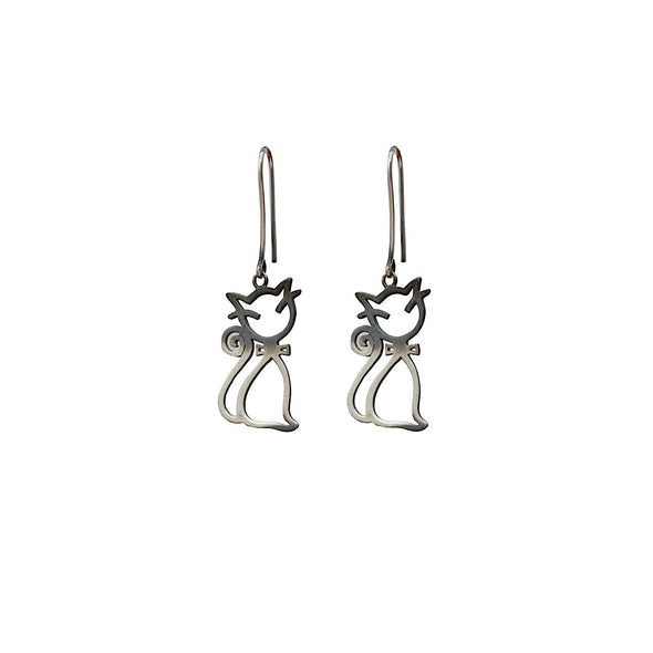 smelly-sleepy-swinging-cat-silver-dangly-earrings