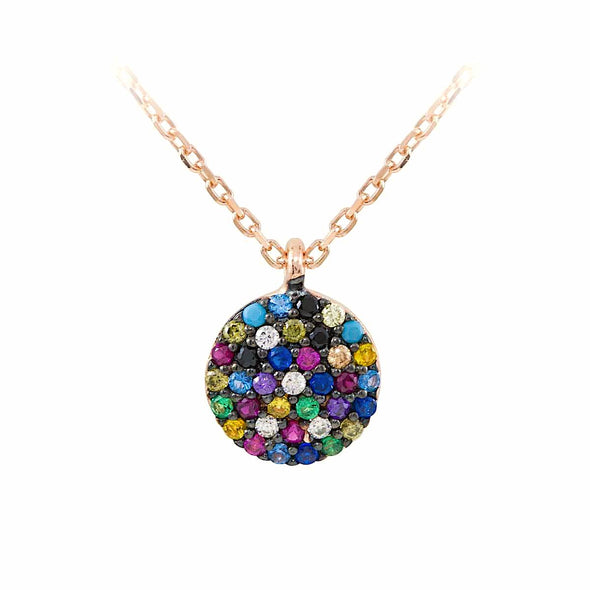 the-full-small-circle-rainbow-rose-gold-plated-silver-necklace