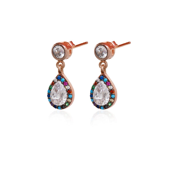 delicious-rainbow-pear-rose-gold-plated-dangly-silver-earrings