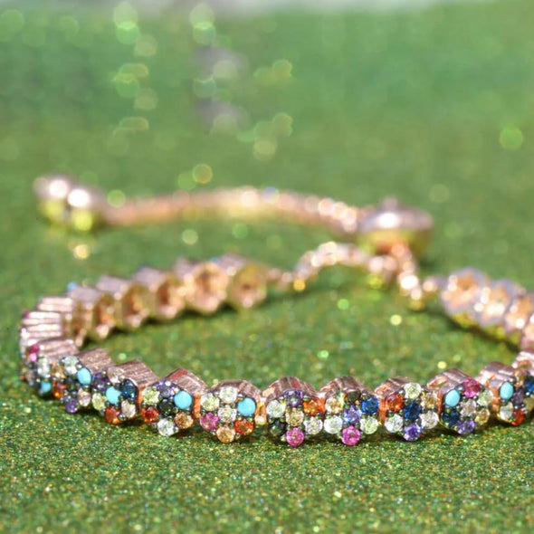 garden-of-rainbow-flowers-rose-gold-plated-silver-bracelet