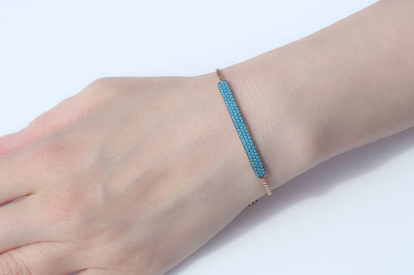keep-calm-and-wear-turquoise-rose-gold-plated-silver-bracelet-1