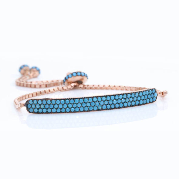keep-calm-and-wear-turquoise-rose-gold-plated-silver-bracelet-2