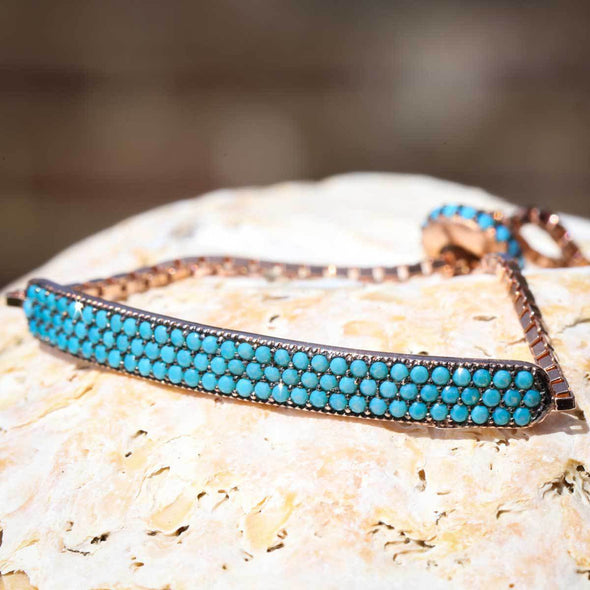 keep-calm-and-wear-turquoise-rose-gold-plated-silver-bracelet