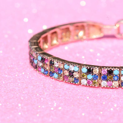 storm-repeller-rainbow-three-row-rose-gold-plated-silver-bracelet