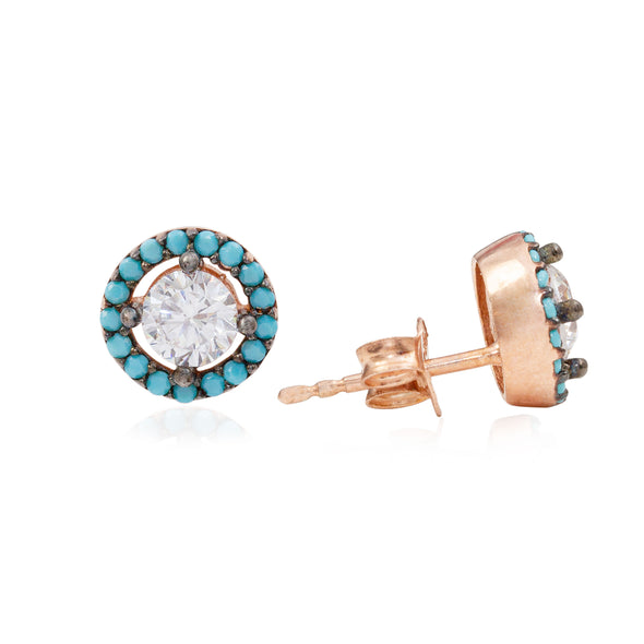turquoise-hula-hoop-rose-gold-plated-silver-stud-earrings