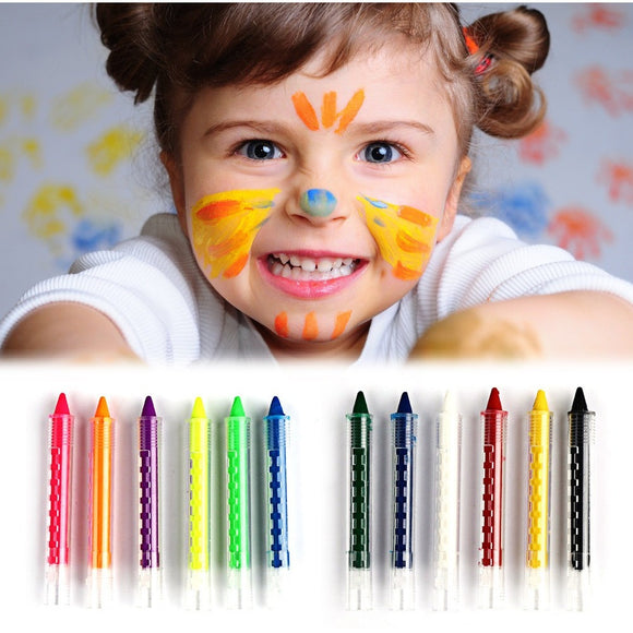 6 Colors Face Painting Crayon Pencils Splicing Structure Face Paint Crayon Body Painting Pen Stick For Children Party Makeup - PALETTE Fragrances & Cosmetics