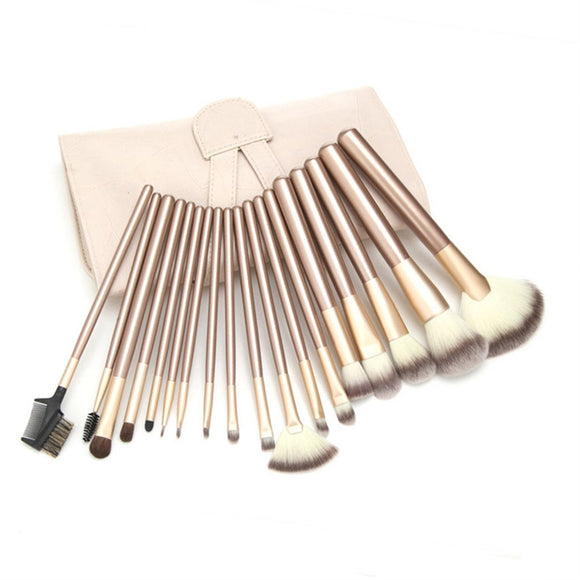 High Quality 18 Pcs Cosmetic Makeup Tool Brush Brushes Set Powder Eyeshadow Blush kit +PU Packing bag