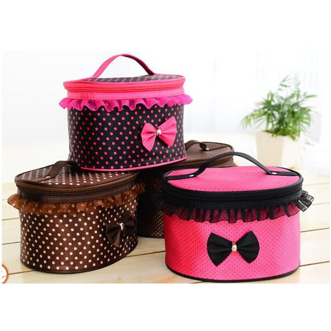 Women Cosmetic Bag Travel Makeup Make up Storage Organizer Box Beauty Case-Rose red + dots