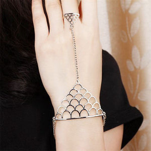 Charm Bracelet Punk Silver Alloy Triangle Fish Scale Pattern Harness  Finger Bracelet - PALETTE Fragrances & Cosmetics
