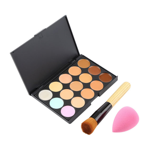 15 Colors Contour Face Cream Makeup Concealer Palette+Sponge Puff+Powder Brush Hot Selling 2015 - PALETTE Fragrances & Cosmetics