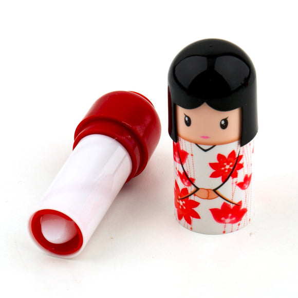 Kimono Doll Lipstick Cute Lovely Pattern Gift For Girl Lady Colorful Girl Lip Balm New Year Pretty Present
