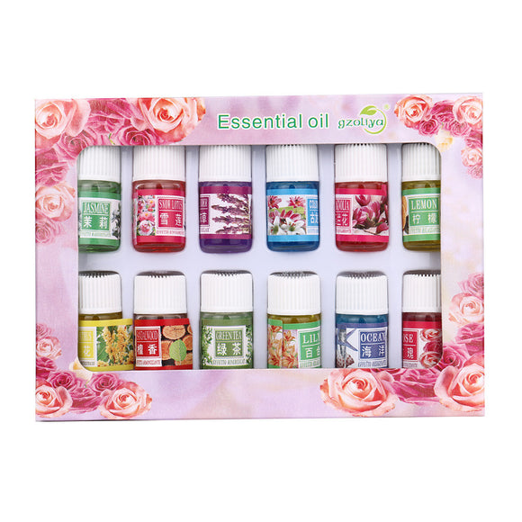 12 Flavor 3ML/Box Pure Aromatherapy Essential Oil Skin Care Bath Massage Beauty - PALETTE Fragrances & Cosmetics