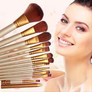 12 pcs\Set New Women Professional Cosmetics Make Up Brushes For Powder Foundation Eyeshadow Lip Pincel Maquiagem  Free Shipping - PALETTE Fragrances & Cosmetics