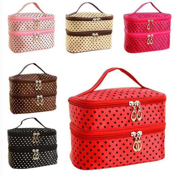 Fashion Double layer small dots cosmetic bag  makeup tool storage bag  multifunctional Storage package  free shipping  S385