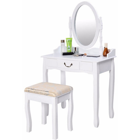 Vanity Table Jewelry Makeup Desk Bench Dresser w/ Stool Drawer White New  HW50200