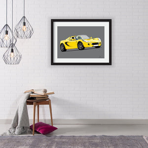 Lotus Elise S2 (Side) customised artwork Giclée printed