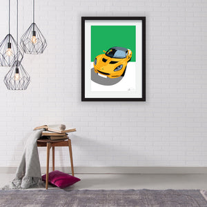 Lotus Elise S3 (Overhead) customised artwork Giclée printed
