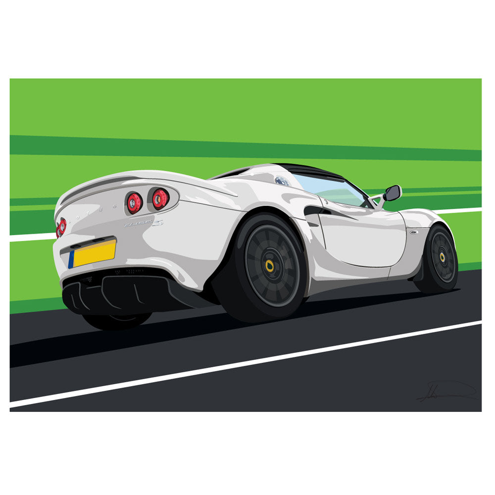 Lotus Elise S3 (Rear) customised artwork Giclée printed
