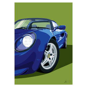 Lotus Elise S1 (Front) customised artwork Giclée printed