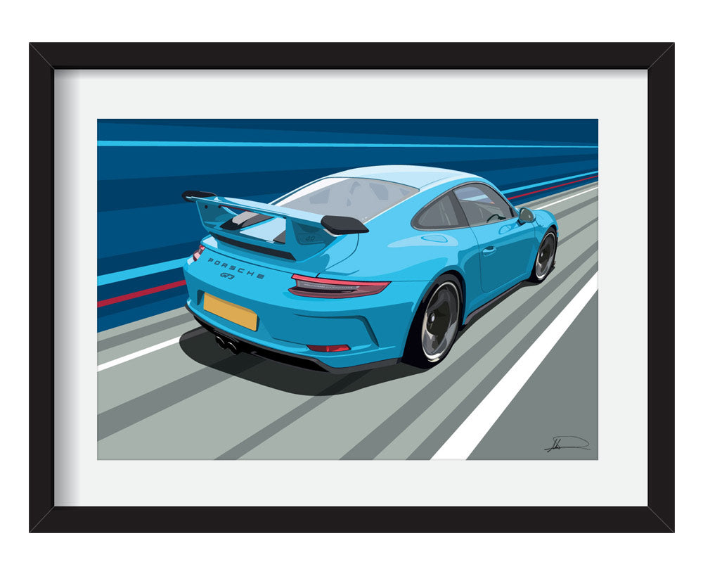 Porsche 991 GT3 customised artwork Giclée printed