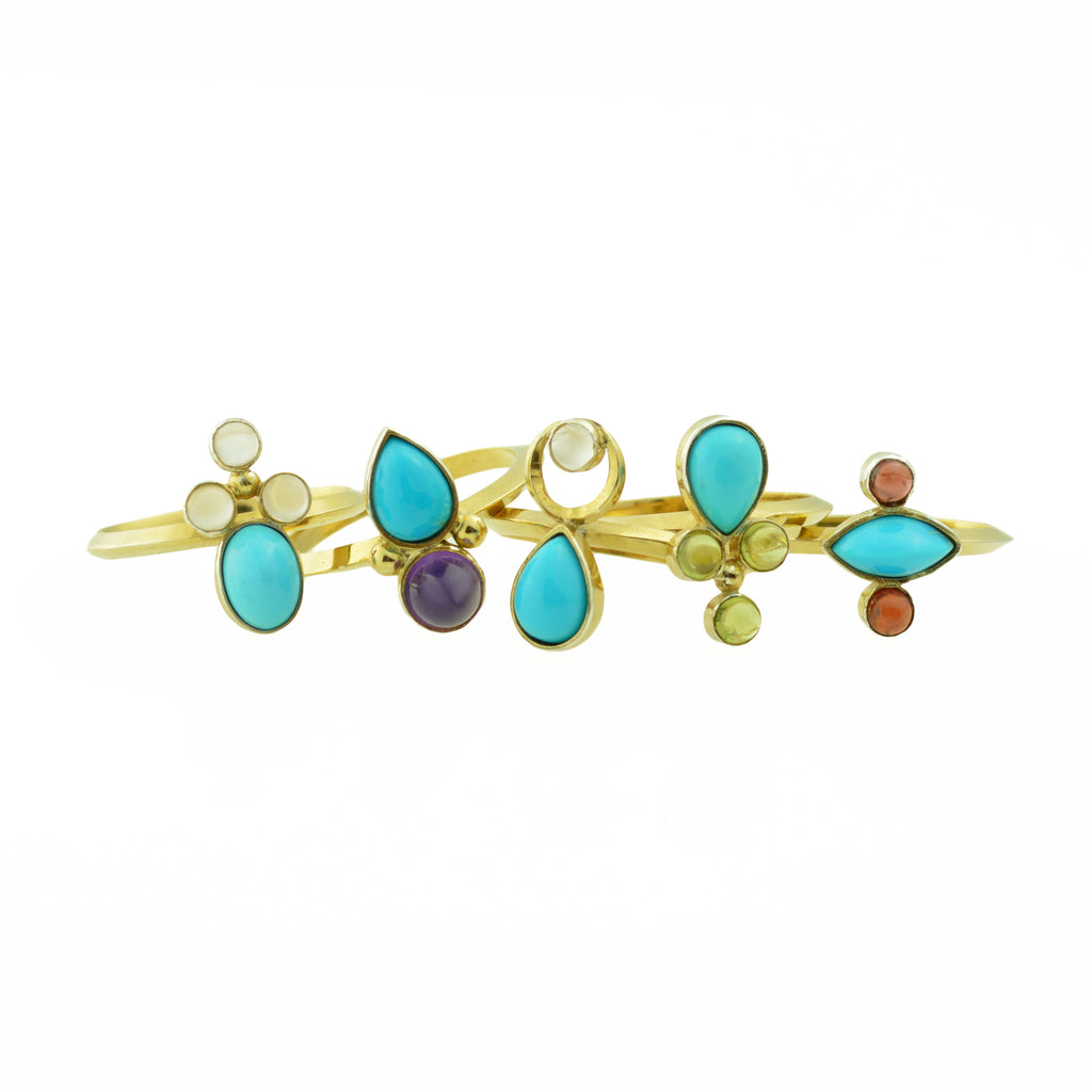 Turquoise and gemstone rings by Gina Pankowski
