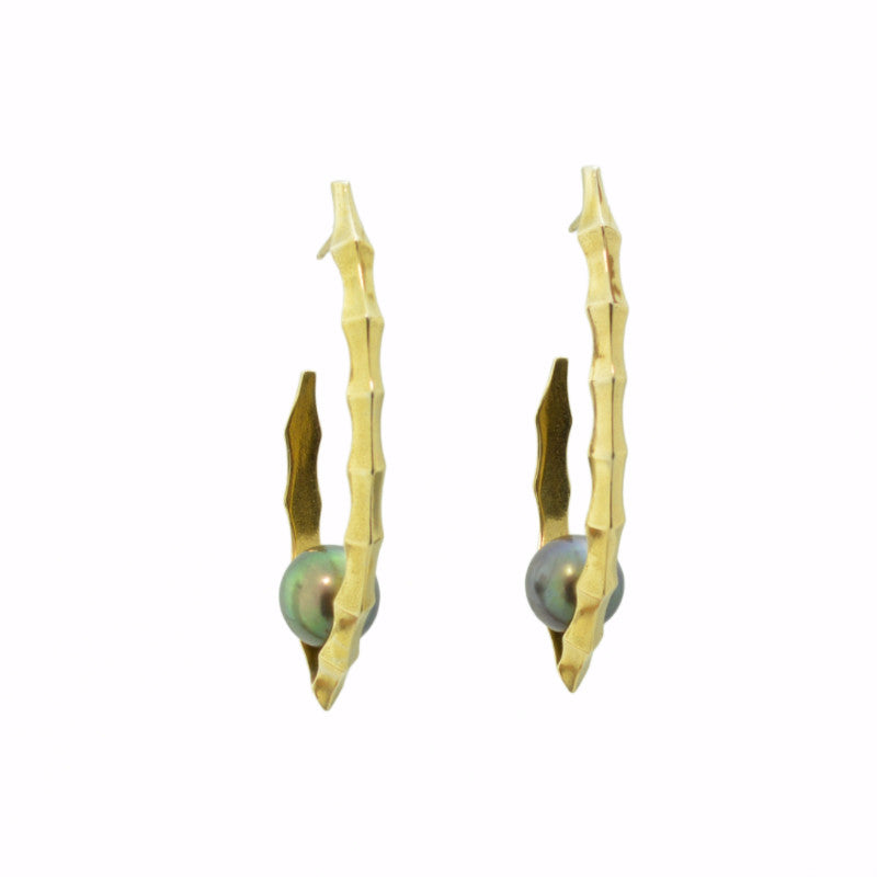 Ibex Black Pearl Earrings in 24k on Sterling Silver