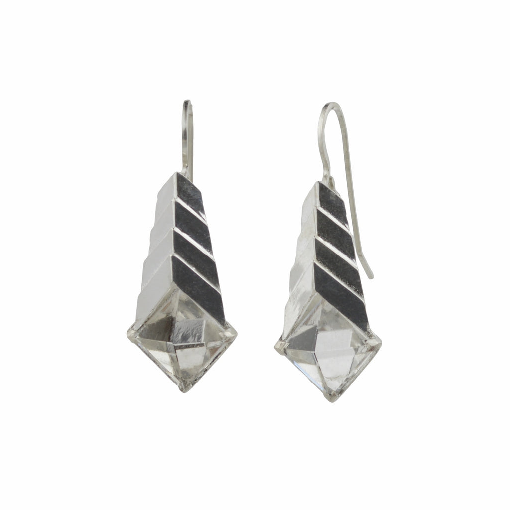Metropolis Pyramid Earrings in sterling silver and rock crystal