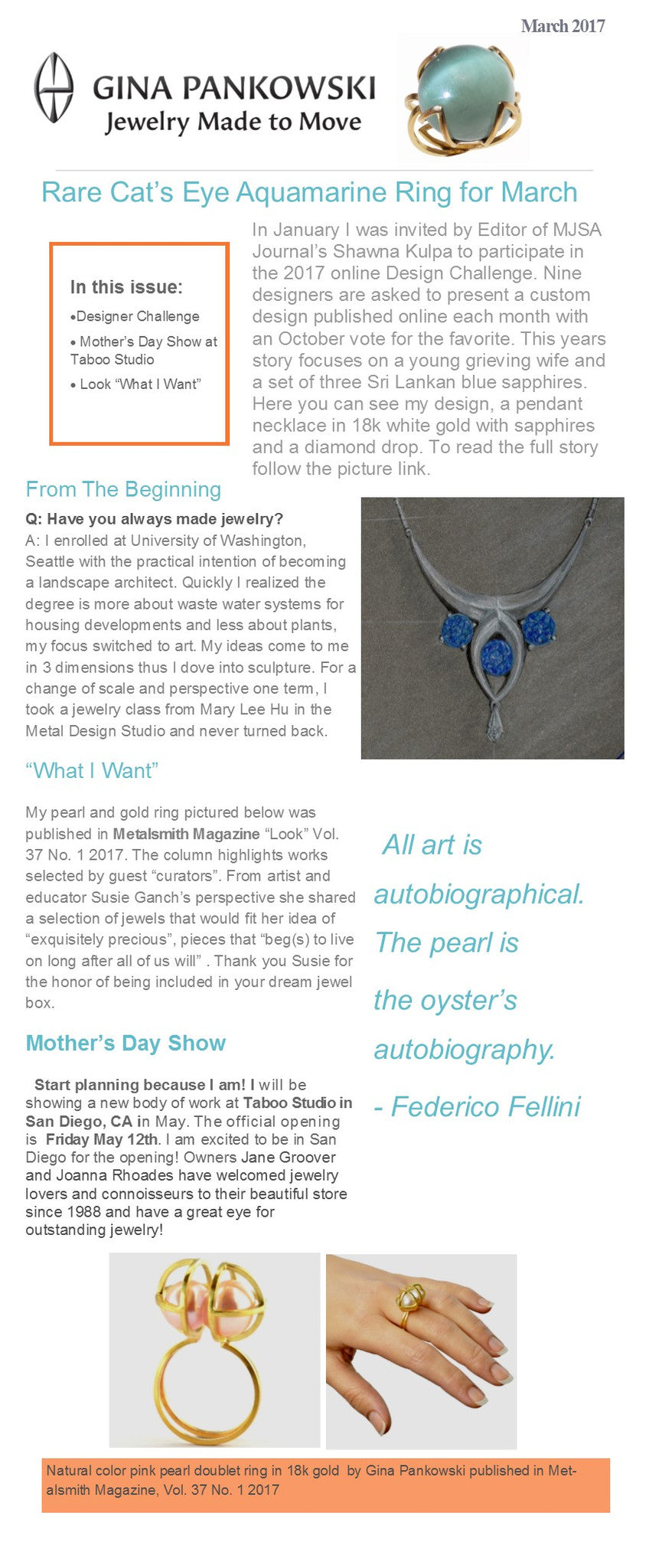 Gina Pankowski Jewelry March News
