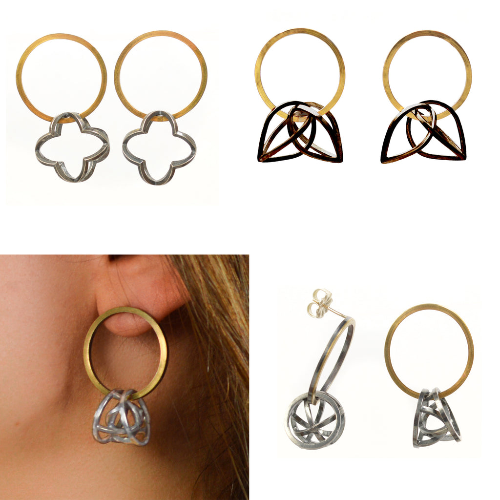 Kinetic hoop earrings 22k gold sterling silver white black gold