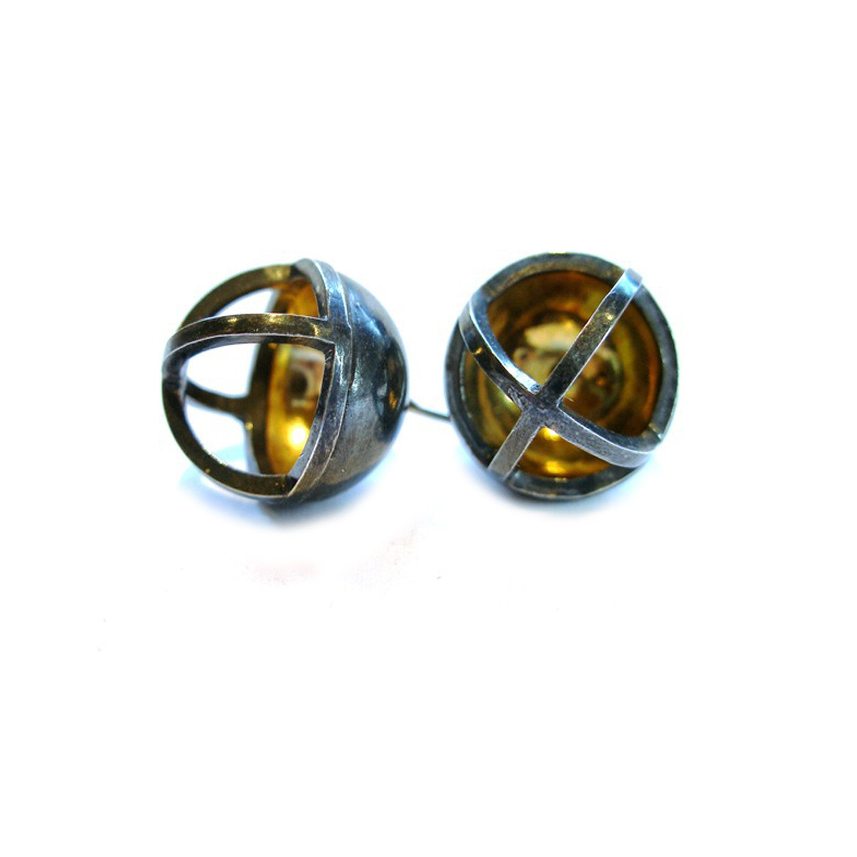 Concave Sphere Earrings in Sterling and 22k Gold