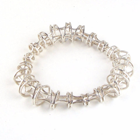 Vertebrae Bangle Bracelet in Sterling Silver with Elegant Graduations