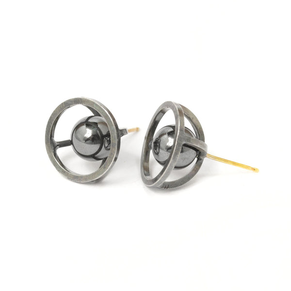 Sphere of Reflection Stud Earrings in Sterling Silver, Dark Patina Finish, and Hematite