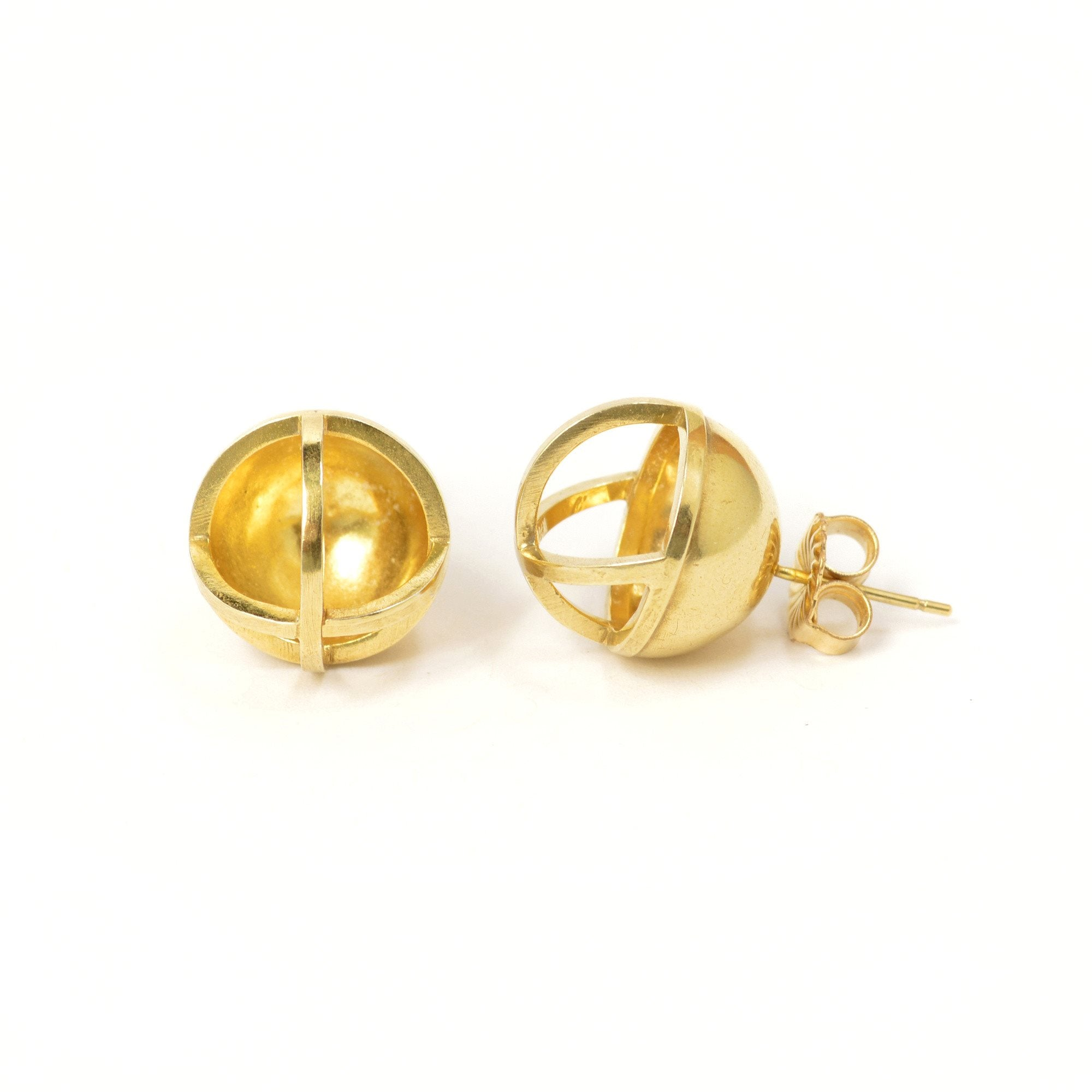 Concave Sphere Stud Earrings in 14k gold