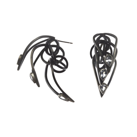 Tighra Earrings with Black Patina, White Sapphires
